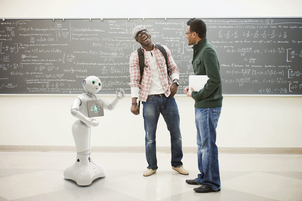 Humanoid robot interacts with people.